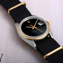 Rolex 18K/SS DATEJUST Custom Black Onyx NATO Strap 36mm Quickset