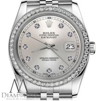 Rolex Diamond Rolex 26mm Datejust Silver Natural Diamond Face...