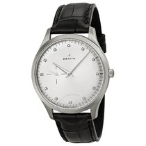 Zenith Elite Silver Dial Stainless Steel Black Leather...