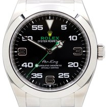 Rolex Air-King 116900 40mm Black Arabic Green Hand Stainless...