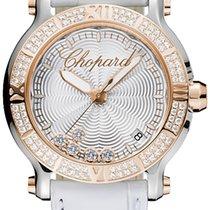 Chopard Happy Sport 36mm Stahl/Roségold Leder Diamanten