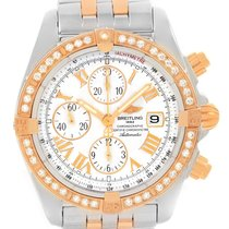Breitling Chronomat Evolution Steel Rose Gold Diamond Watch...