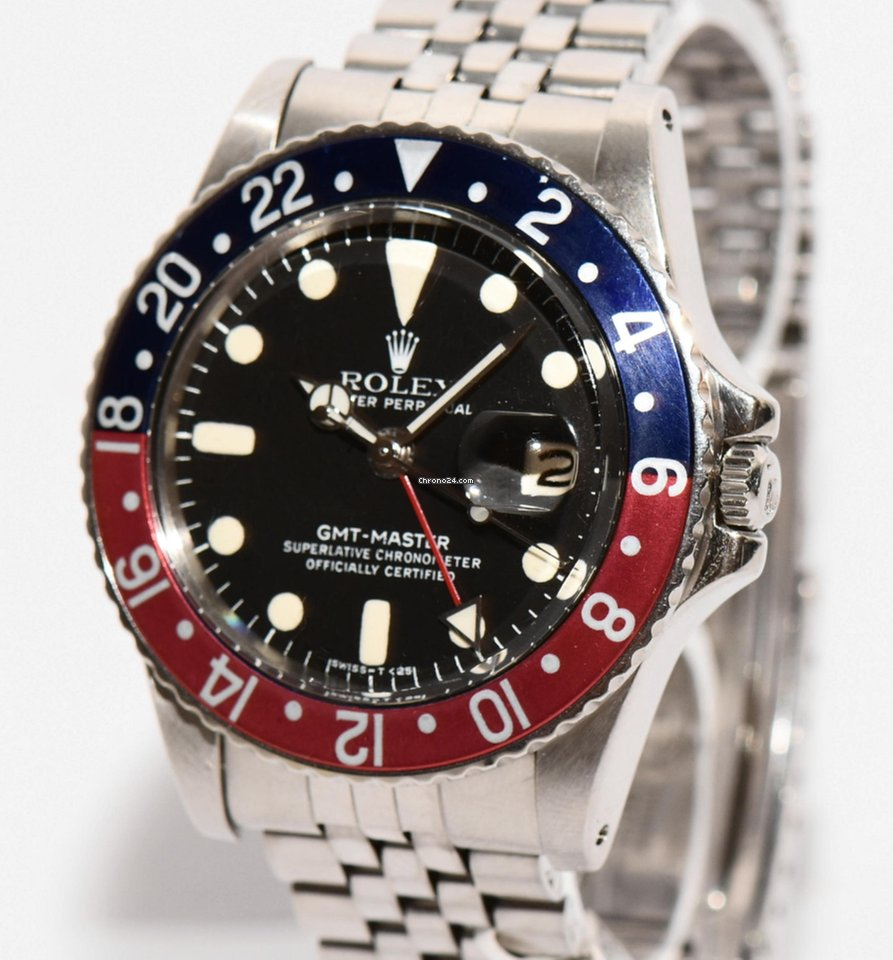 Rolex GMT Master PEPSI 1675 Stahl Uhr Papiere 1969 Vintage en venta ...