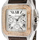 Cartier Santos 100 XL Chronograph Gold Bezel Diamond Set W20091X7