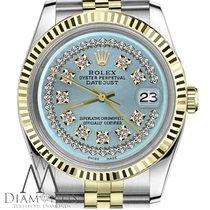 Rolex Ice Blue Mens Rolex 36mm Datejust 18k/ss 2tone String...