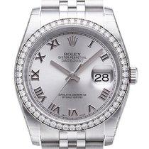 Rolex Datejust 36 Weißgold Diamant Lünette 116244 Rhod R Jubile-B