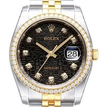 Rolex Datejust 36 Edelstahl Gelbgold Diamant 116243 Schwarz J DIA