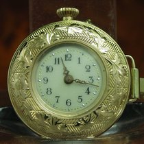 Kleine 14kt 585 Gold Open Face Taschenuhr / Anhängeuhr / 28,6mm