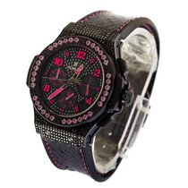 Hublot Big Bang 41mm Fluo Pink Black Diamond Dial - womens watch