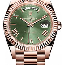 Rolex 228235 Rose Gold 40mm Day Date Green Roman Dial New