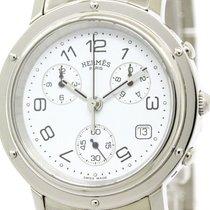 Hermès Polished Hermes Clipper Chronograph Steel Quartz Mens...