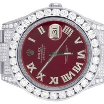 Rolex Mens Rolex Datejust II Full Iced Out 41MM 116300 Red...