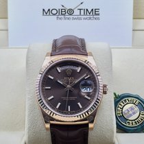 Rolex Day Date Chocolate Index Dial Everose Gold Bezel 34mm [NEW]