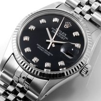 Rolex SS Datejust 36mm Custom Black Diamond Dial WG Fluted 16014