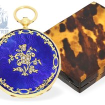 Pocket watch: exquisite gold/enamel miniature Lepine with...