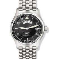 IWC 3251-006 Pilots UTC in Steel - on Bracelet with Black Dial