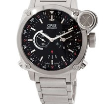 Oris BC4 Flight Timer 42.7mm Black Dial Full Steel GMT NEW