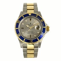 Rolex Submariner Date Two Tone Silver Serti Dial Watch 166133...