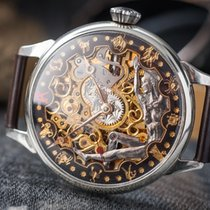 Omega Marriage watch skeletonized sub second steel c.1920