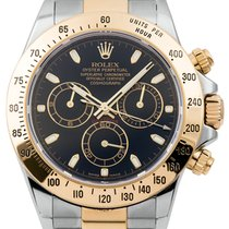 Rolex Daytona Steel and Yellow Gold Watch with Black Dial 116523