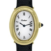 Cartier Baignoire 18k  Gold on Leather Ladies  Watch