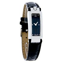 Movado Elliptica Ladies Black Dial Leather Strap Watch 0604766