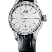 Oris Artelier Date Diamonds Steel/Diamonds Black Leather