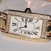 Cartier Tank Americaine American 18K Solid Gold Diamonds