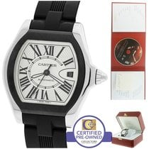 Cartier Roadster Stainless Silver Black Rubber Watch 3112...