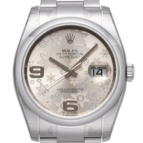 Rolex Oyster Datejust 36 mm 116200 Ziff. Floral-Silber