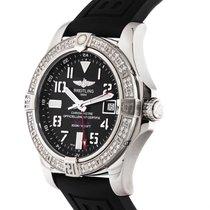 Breitling Avenger II GMT Diamond Bezel Black Dial Rubber Strap...