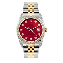 Rolex Datejust Men's 36mm Red Dial Gold And Stainless...