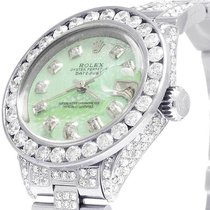 Rolex Ladies Rolex Datejust Oyster 26MM Green MOP Dial Iced...