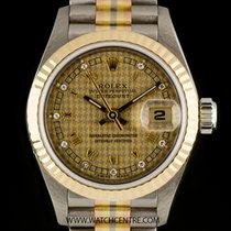 Rolex 18k Tridor O/P Houndstooth Diamond Dial Datejust Lds...