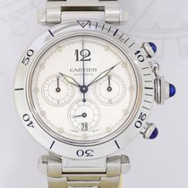 Cartier Pasha Chronograph Date silver Automatic TOP Stahlband...