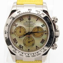 롤렉스 (Rolex) Daytona Beach 18k White Gold Yellow Leather Strap...