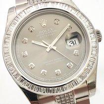 Rolex Datejust II Pavee Dial Weissgold Baguette Brillant Lünette