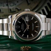 Rolex Date Just 116200 Full Set ITA  Black Index Roulette Date