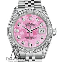 Rolex Ladies Rolex Datejust 26mm Stainless Steel Pink Flower...