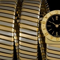 Bulgari 18k Y/Gold & 18k W/Gold Black Dial Tubogas Ladies...