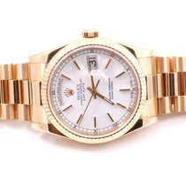 Rolex Mens 18K Yellow Gold Day-Date President - White Stick...