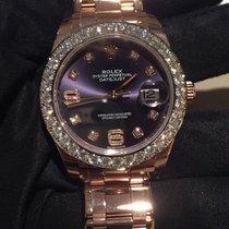 Rolex Pearlmaster 39 86285 Aubergine Diamond Rose Gold Oyster...