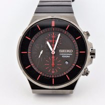 Seiko Black Steel Chronograph 100m Quartz Watch 7t92-0ng0