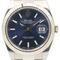 Rolex Datejust 41 126334 Blue Index Fluted White Gold Stainles...