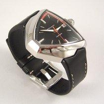 Hamilton VENTURA ELVIS80 AUTO Presley Steel Black Leather...