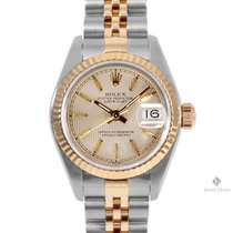 Rolex Datejust Steel and Gold Champagne Tapestry Dial Fluted...