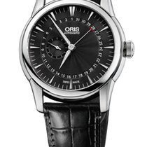 Oris Artelier Pointer Date Black Leather Bracelet