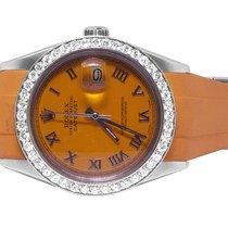 Rolex Sporty Custom Rolex Datejust Orange Rubber Band 36MM...