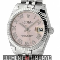 Rolex Datejust Stainless Steel 31mm Pink Roman Dial 18k White...