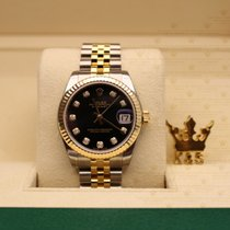 Rolex 178273  Datejust Yellow Gold Blk  Dial set with diamonds